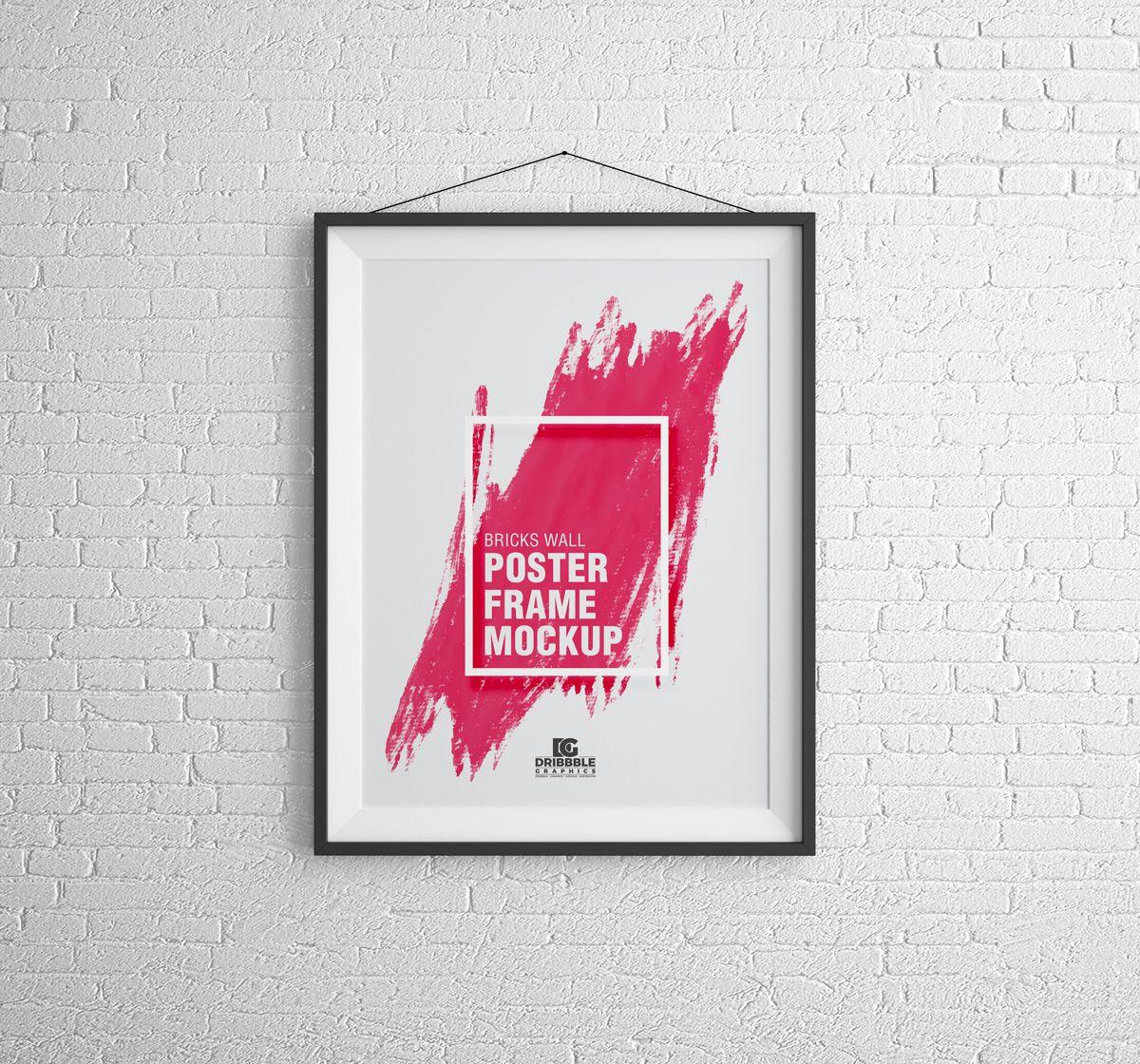 Free Bricks Wall Poster Frame Mockup Psd 2018 Wall Poster Frame Poster Frame Frame Mockups