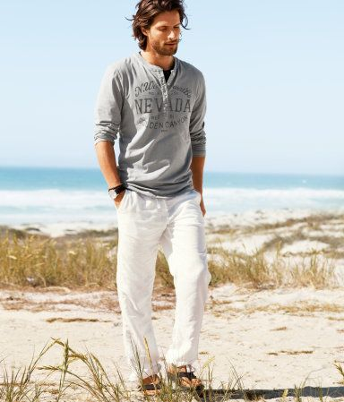 men's pilot shirt and linen pants...don't forget the sunglasses ...