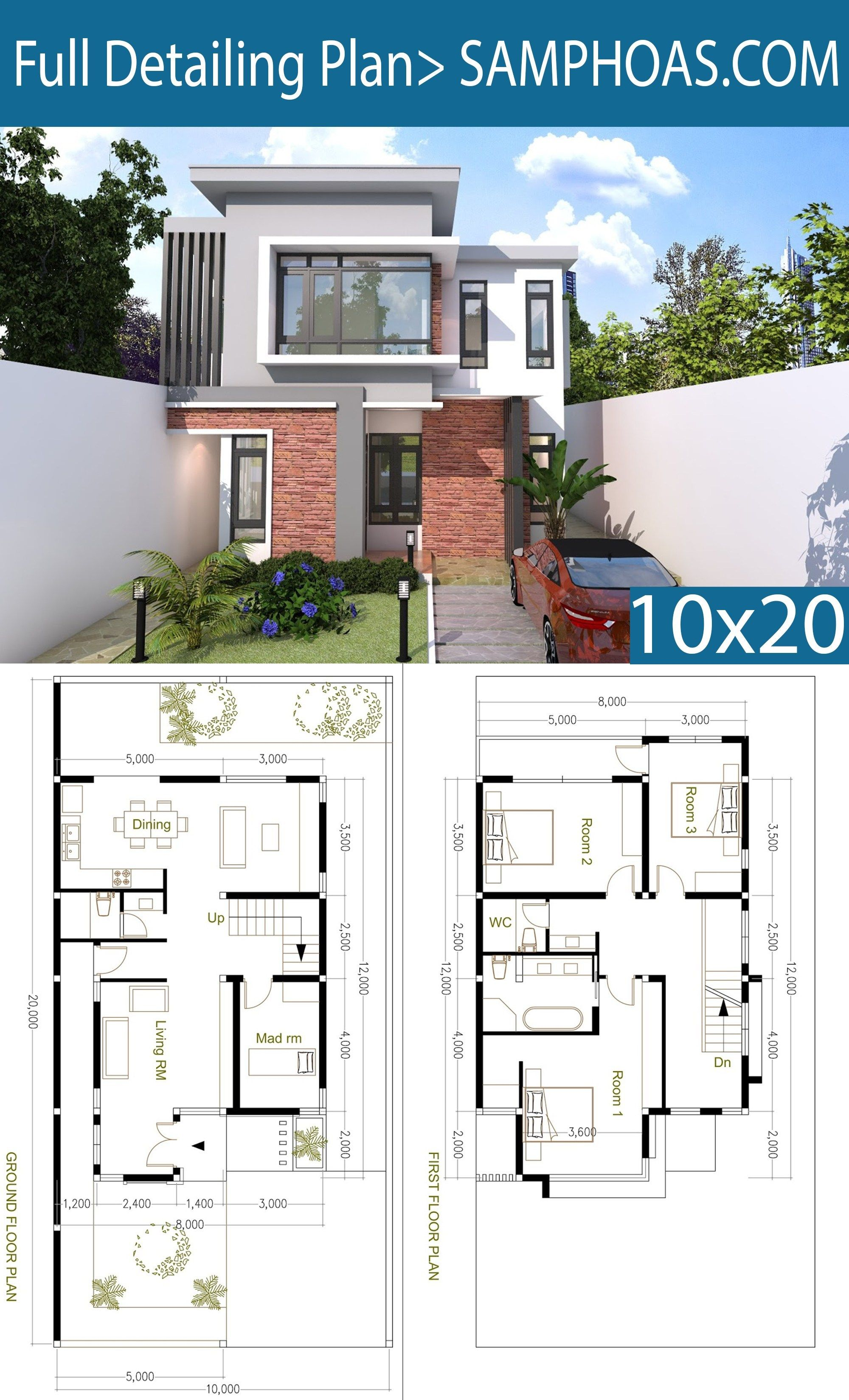 4 Bedroom Modern Home Plan Size 8x12m Samphoas Plan Modern House Floor Plans Diy House Plans Modern Style House Plans