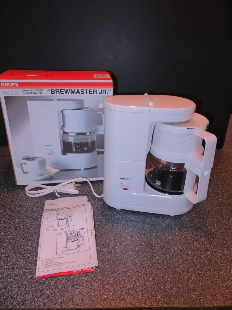 Krups Brewmaster Jr 4 Cup Coffee Maker Model 170 Color White In Original Box 4 Cup Coffee Maker Krups Coffee Maker
