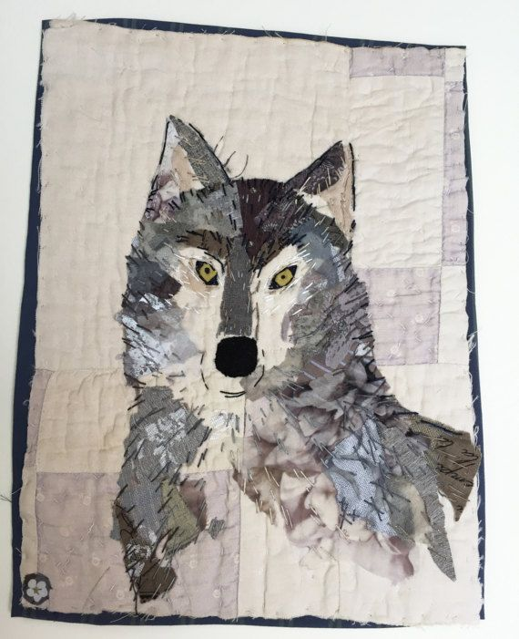 Wolf.Unframed appliqued and hand embroidered wolf by MandyPattullo