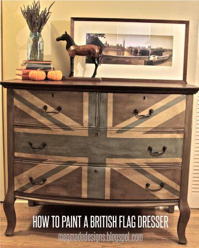 painted furniture union jack autumn vignette. Meg Made Designs: Painting A Union Jack/British Flag On Dresser Tutorial Painted Furniture Jack Autumn Vignette Y