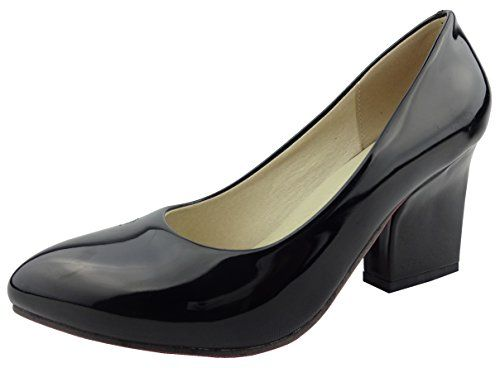 SHOWHOW Womens Classic Slip On Pointed Toe Chunky High Heel Pumps Shoes Black 7 BM US ** To view further for this item, visit the image link.-It is an affiliate link to Amazon. #WeddingShoes