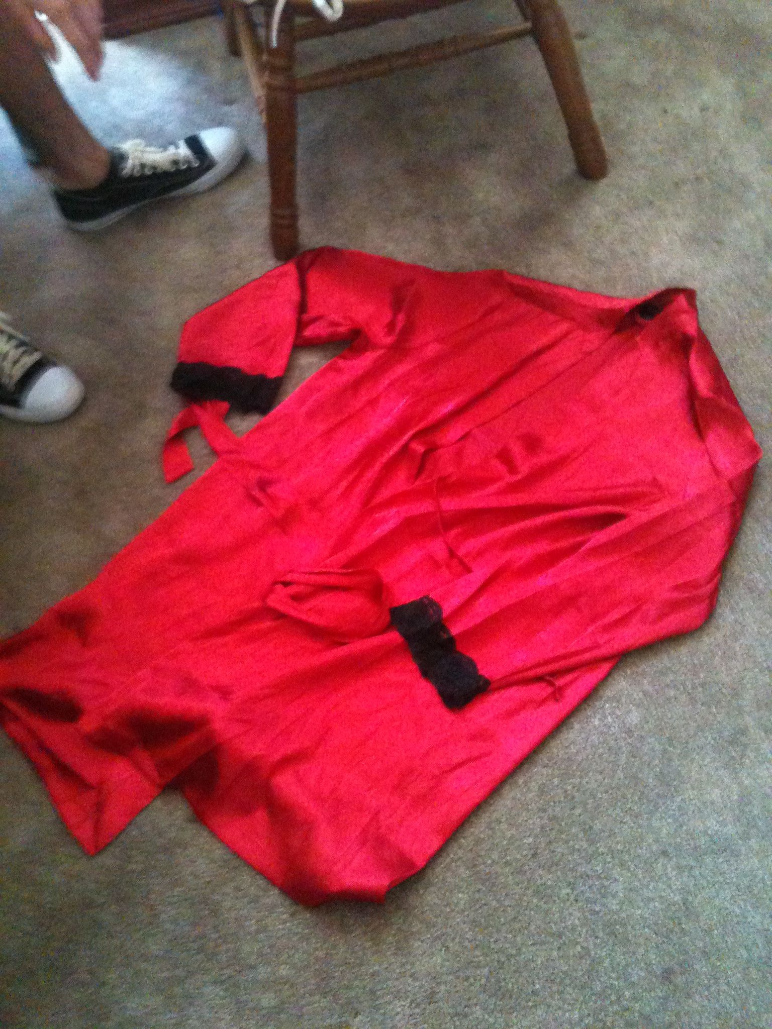 Size large red silk robe black lace cufs