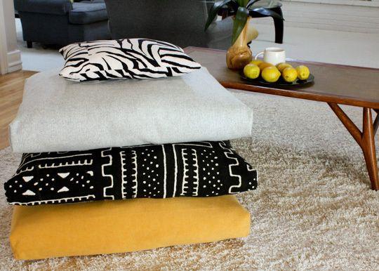 How To Make Fold Stitch Stuff Floor Cushions Floor Cushions Diy Flooring Floor Pillows