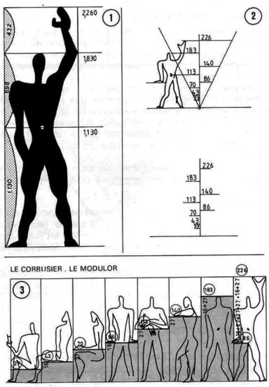 le modulor du corbusier son propre module las proporciones para muebles y estructura humanas. Black Bedroom Furniture Sets. Home Design Ideas
