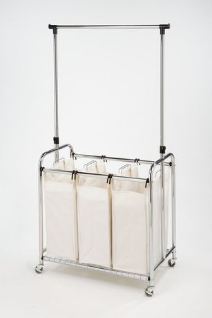 Seville Classics 3 Bag Laundry Sorter W Hanging Bar Laundry Sorter Hanging Bar Laundry Organizers