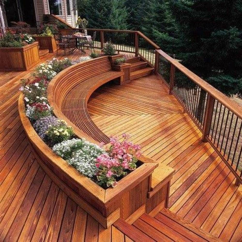 35 Cool Outdoor Deck Designs: Outdoor Wood Plastic Flower Boxes Qatar