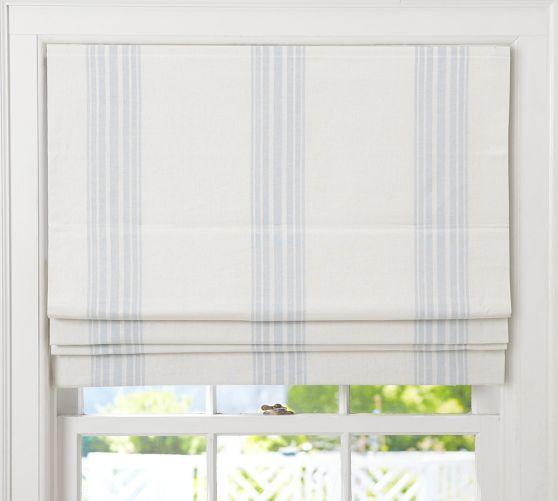 Riviera Stripe Cordless Roman Shade with Blackout Lining Pottery - vorhänge für badezimmer