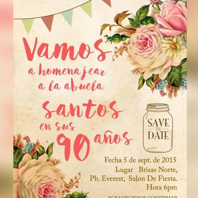 Invitacion De Cumpleaños 90 Cumpleaños 90 Invitacion