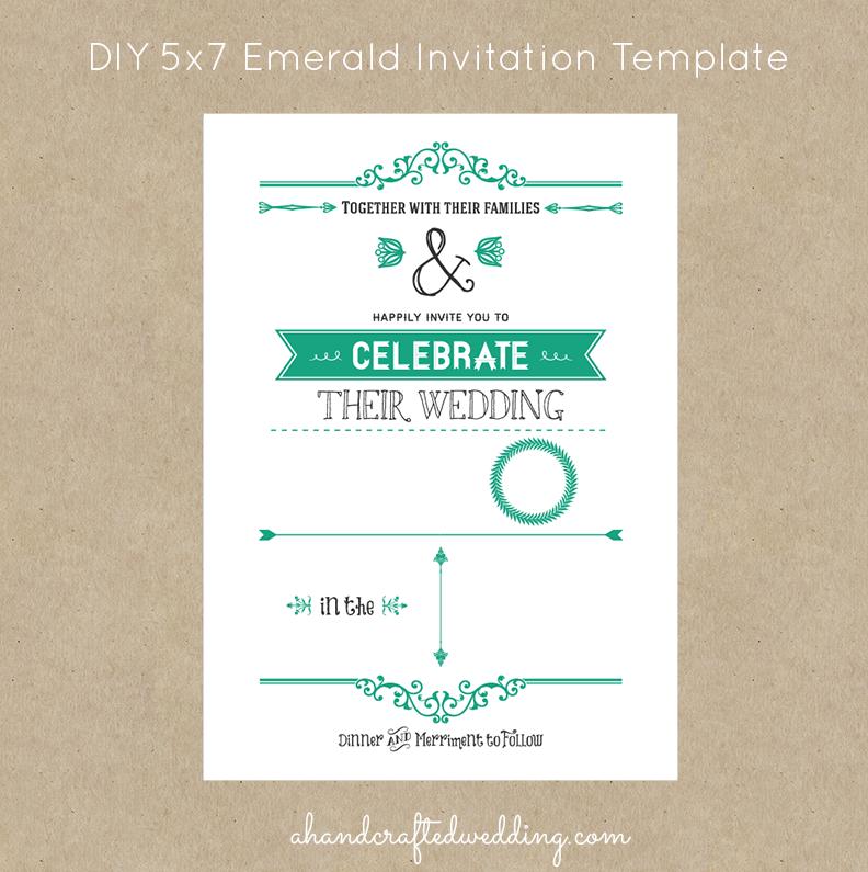 DIY Rustic Chic Wedding Invitation Template in Emerald | ahandcraftedwedding.com #invitations #emerald #DIY #wedding