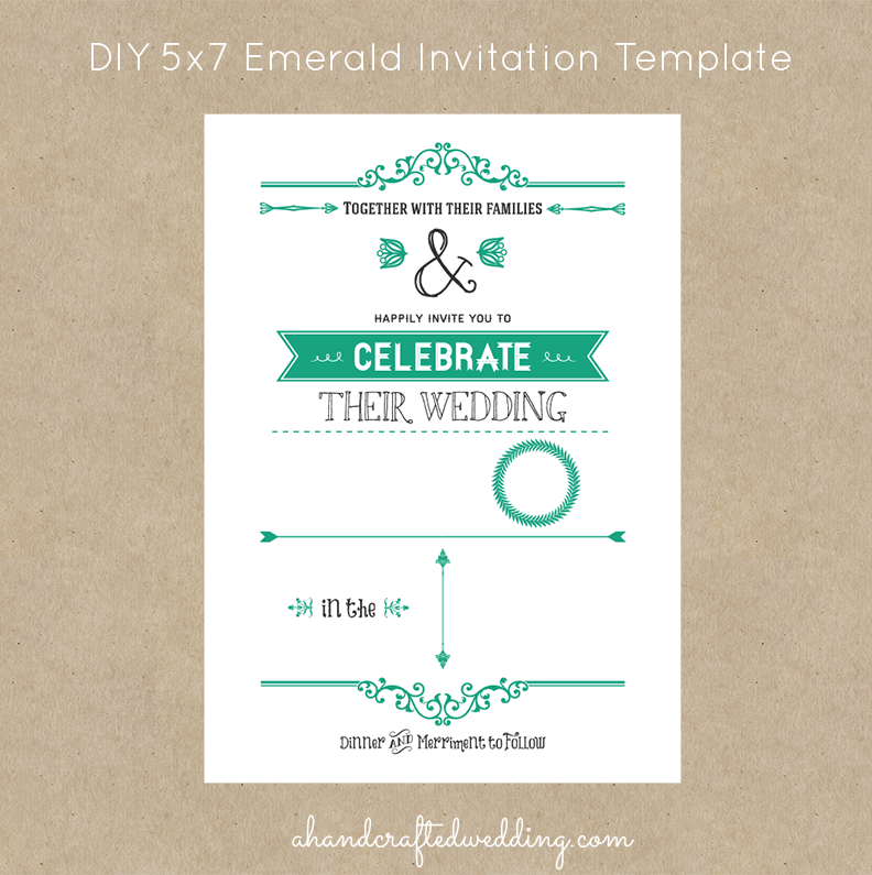 DIY Rustic Chic Wedding Invitation Template in Emerald   ahandcraftedwedding.com #invitations #emerald #DIY #wedding