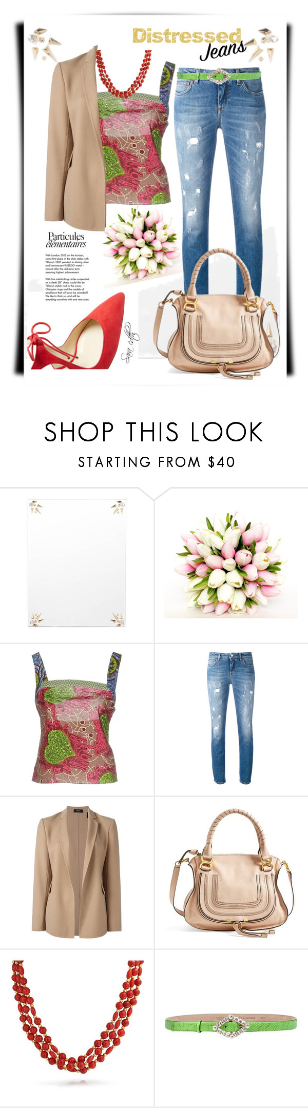 """""""Denim elegance"""" by sara-cdth ❤ liked on Polyvore featuring Alexis Bittar, Moschino Cheap & Chic, Dolce&Gabbana, Theory, Chloé, Bling Jewelry, Valentino and Tiffany & Co."""