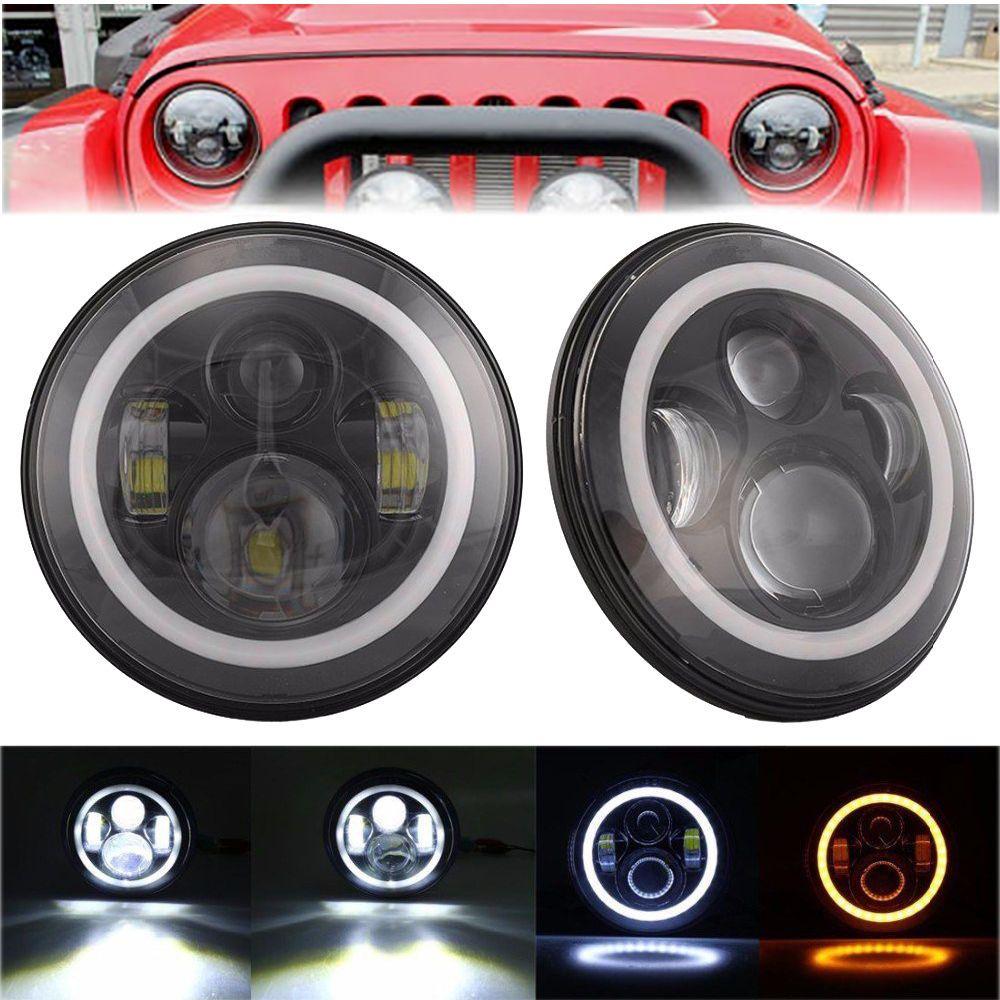 2x 7 inch round cree led headlight halo eye for jeep wrangler jk lj tj 1997- 2014 #turstar