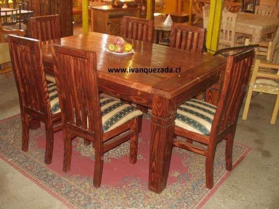 Sillas de comedor rusticas en madera google search for Sillas para mesa redonda