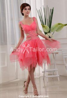 Attractive Organza V-neck Strap Backless A-line Knee-length Special Occasion Prom Dress USA @ http://www.andytailor.com/backless-prom-dresses-c-74_121/