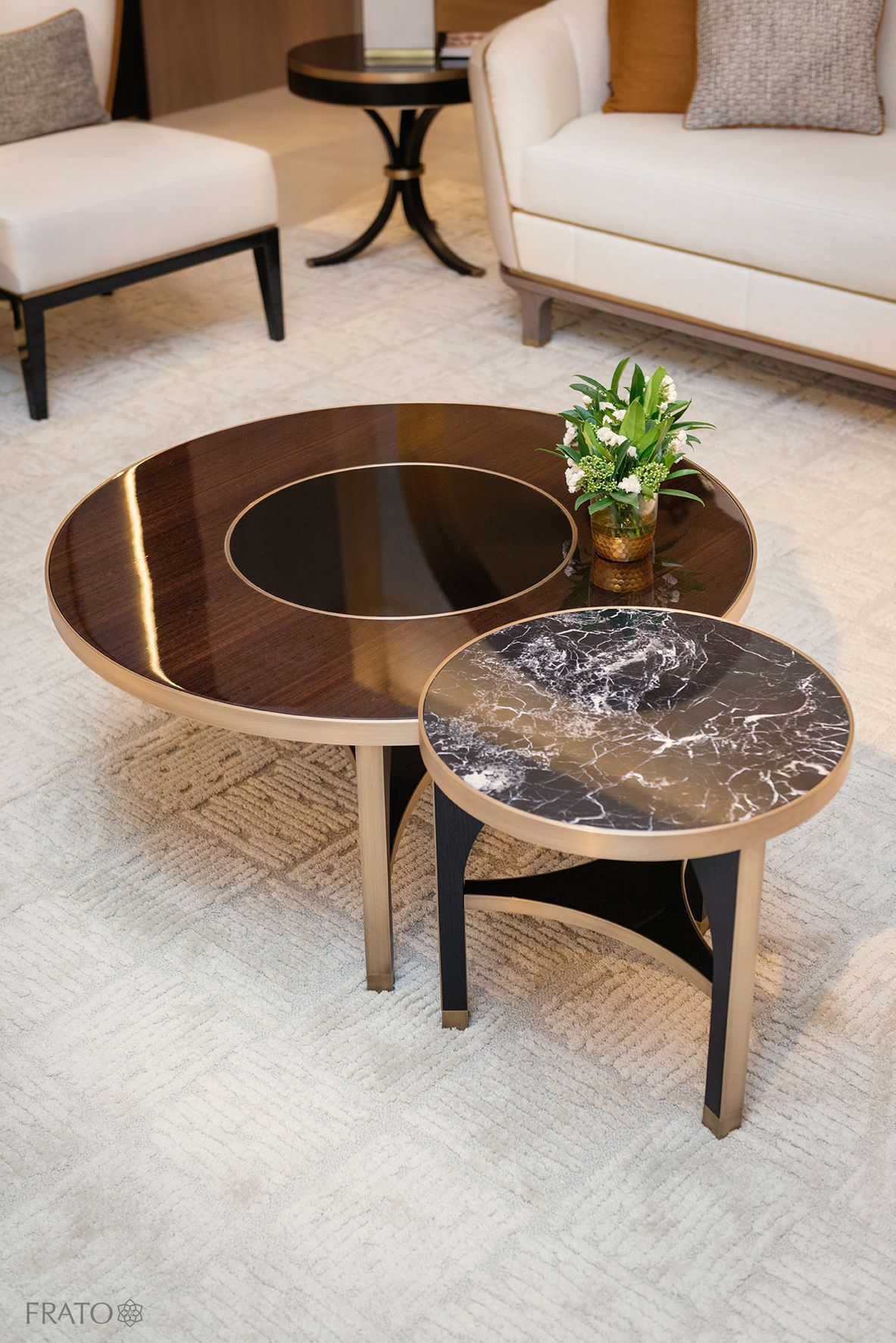Italian Designer Bronze Glass Storage Coffee Table Center Table
