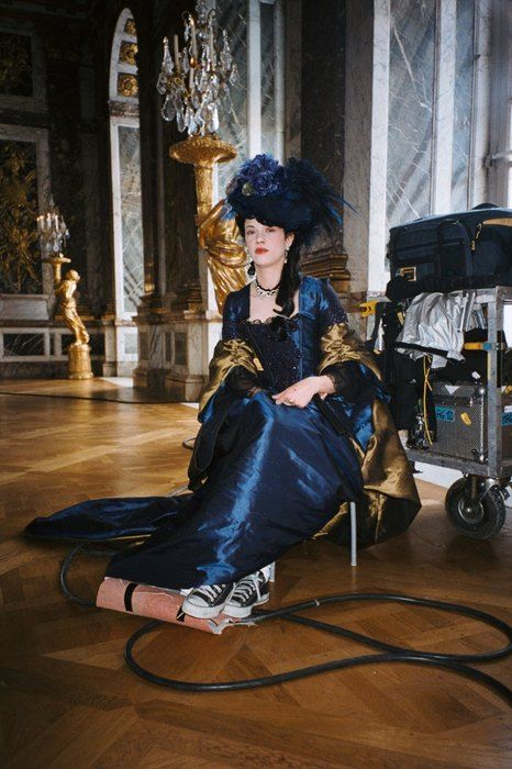 Asia Argento on the set of Marie Antoinette, directed by Sofia Coppola (2006).