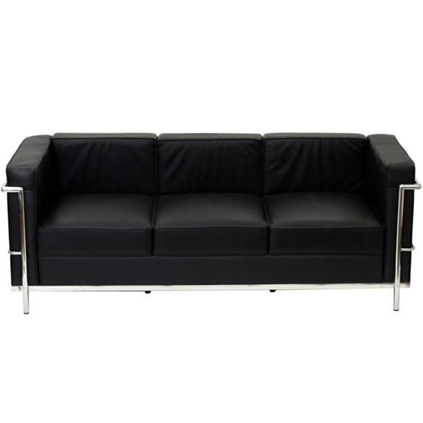 Le Corbusier Modern Black Stainless Steel Lc2 Sofa Black Leather Sofas Leather Sofa Petite Sofa