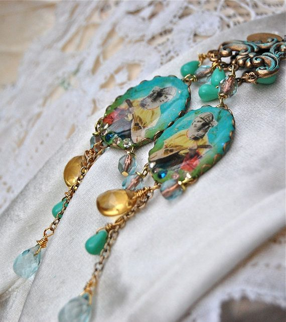Lilygrace Vintage Gypsy Gold and Teal Cameo  by LilygraceOriginals
