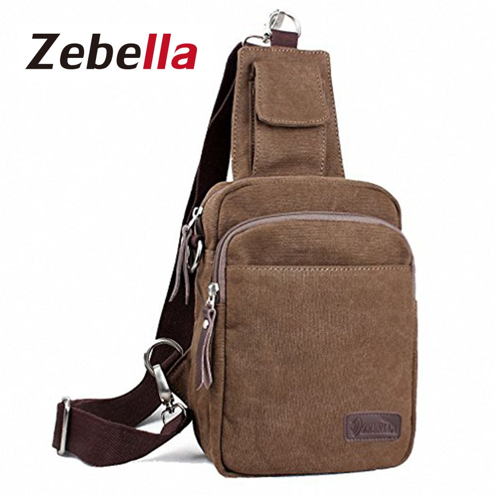 6b2ba59bc1 Zebella Vintage Canvas Crossbody Bag Male Shoulder Bag Men Chest Bag Small  Unbalance Casual Messenger Bags