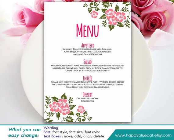 Menu Templates Free Microsoft Inspiration Diy Printable Wedding Menu Template  Instant Download  Editable .