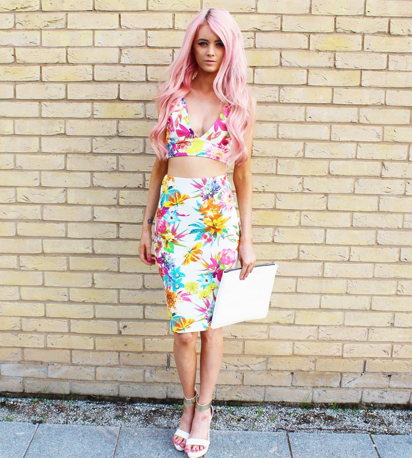 418c443d3b Kirsty Mooney in our cream floral print two Piece. Get yours here  http