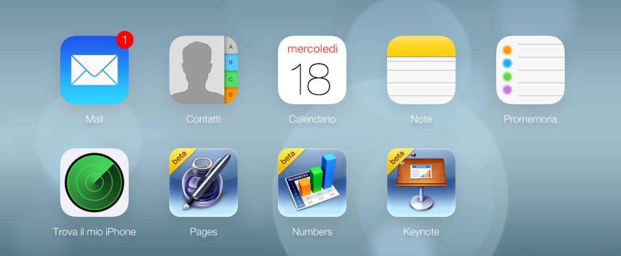 The new iCloud's layout. Fresh and with many new functions.