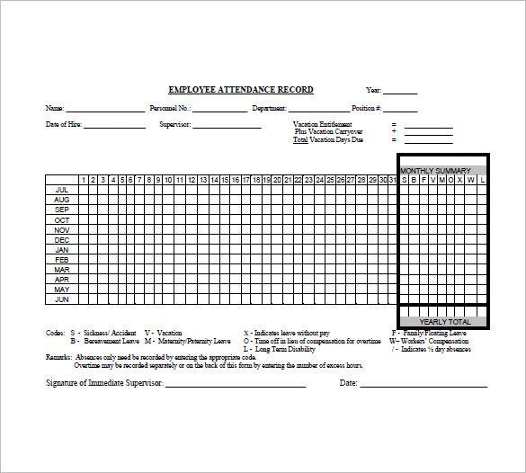 Attendance List Templates 12+ Printable Xlsx, Docs  PDF Samples