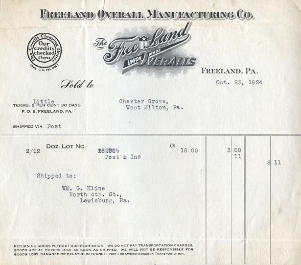 Freeland Overall Manufacturing Co, Invoice, 1924 Vintage Work - work invoices