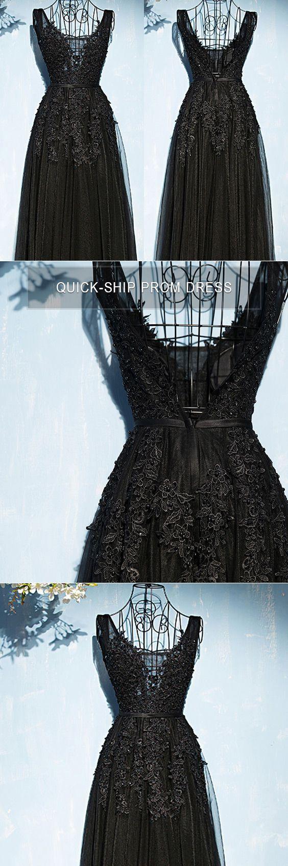 Classic long black lace tulle prom dress vneck sleeveless myx