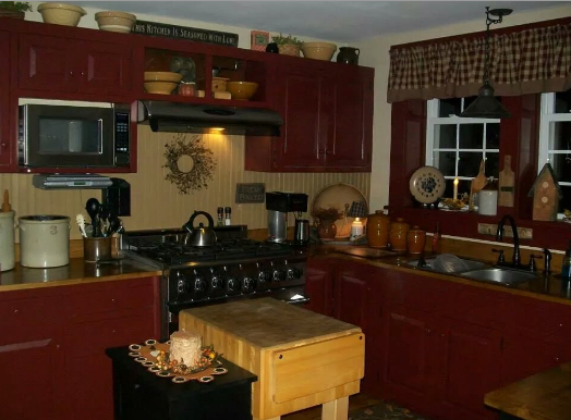 With Cabinets Painted In Cranberry Wainscot In Olde Ivory And Walls