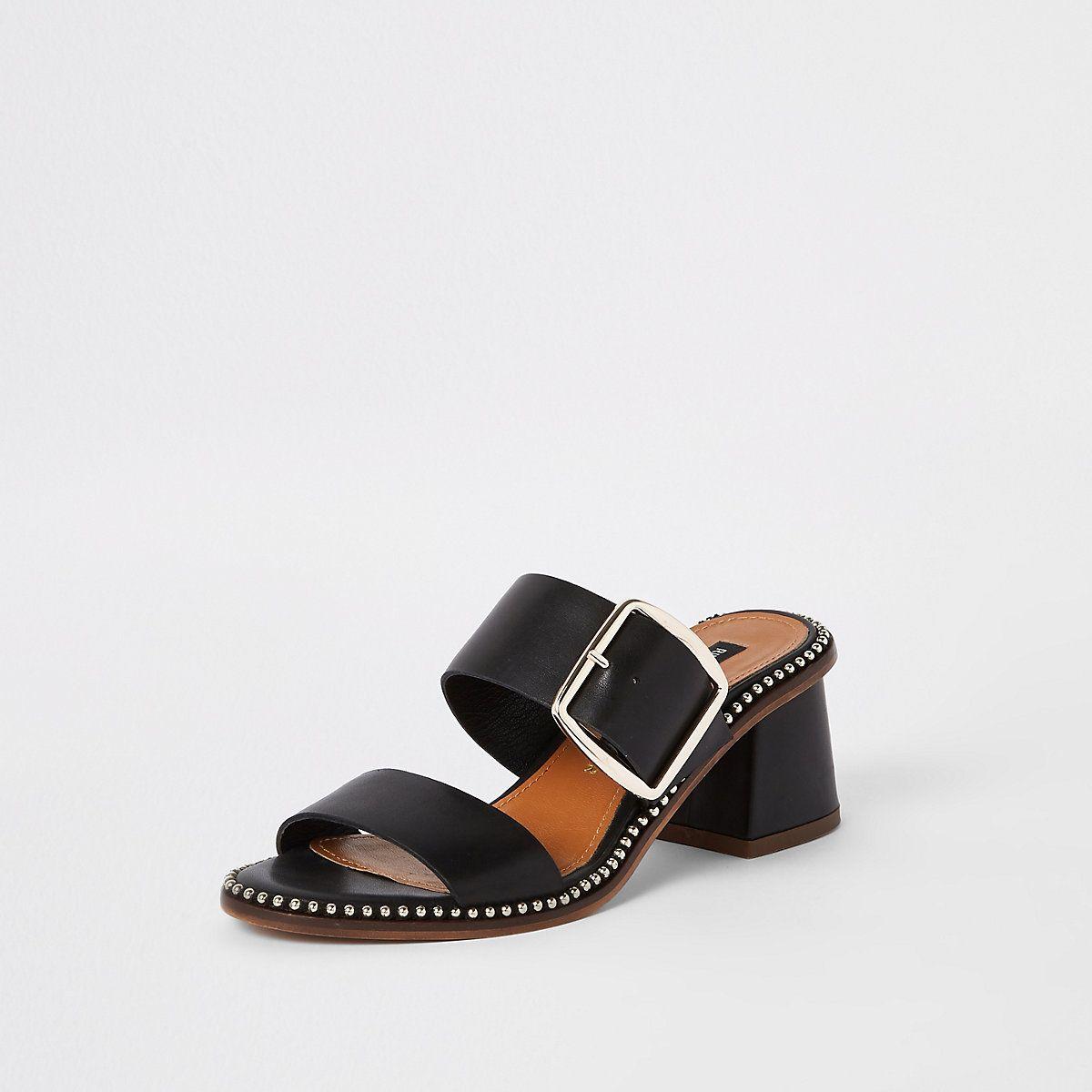 Black wide fit leather block heel mules