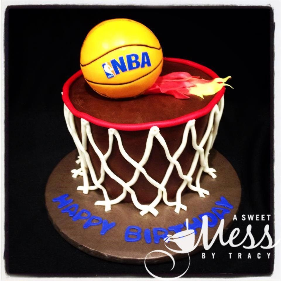 Ganache covered basketball goal cake Birthday Cakes for Boys