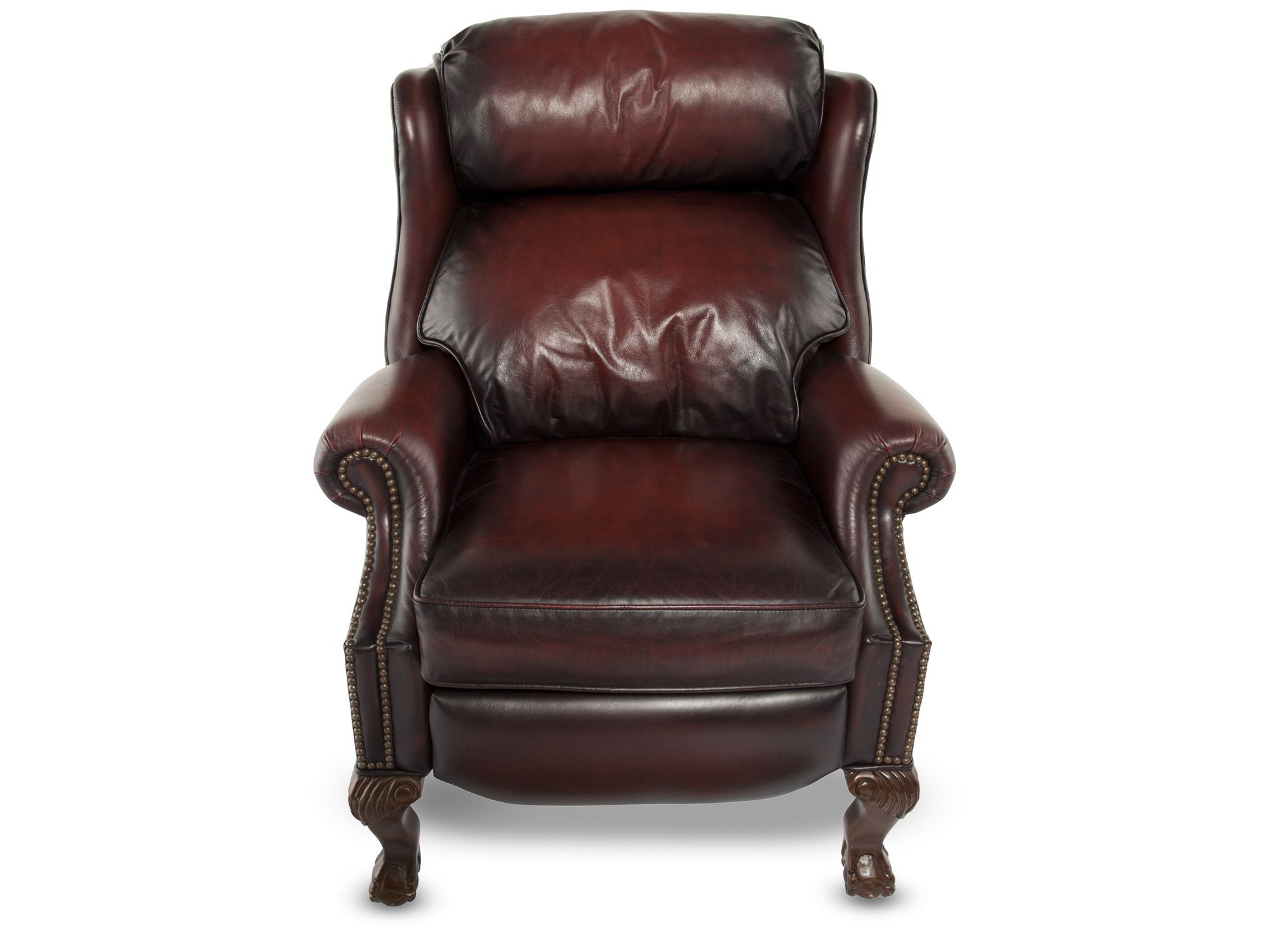 Bernhardt Briggs Burgundy Leather Recliner Burgundy Living Room