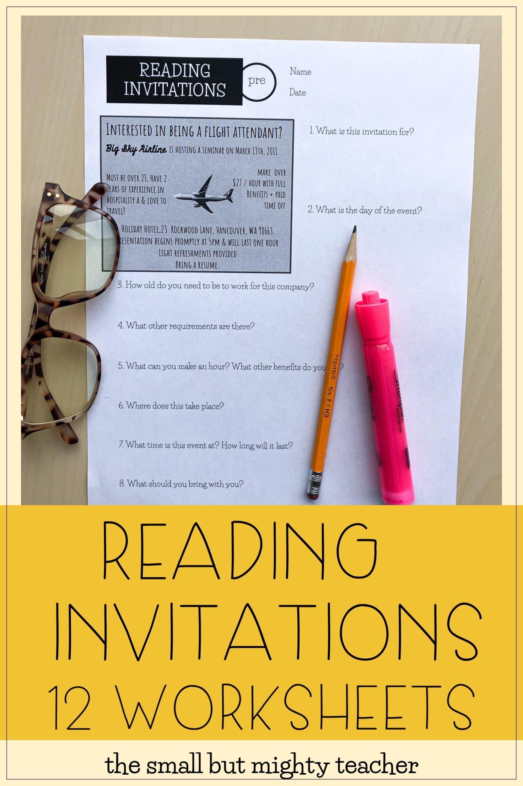 Reading Invitations Worksheets
