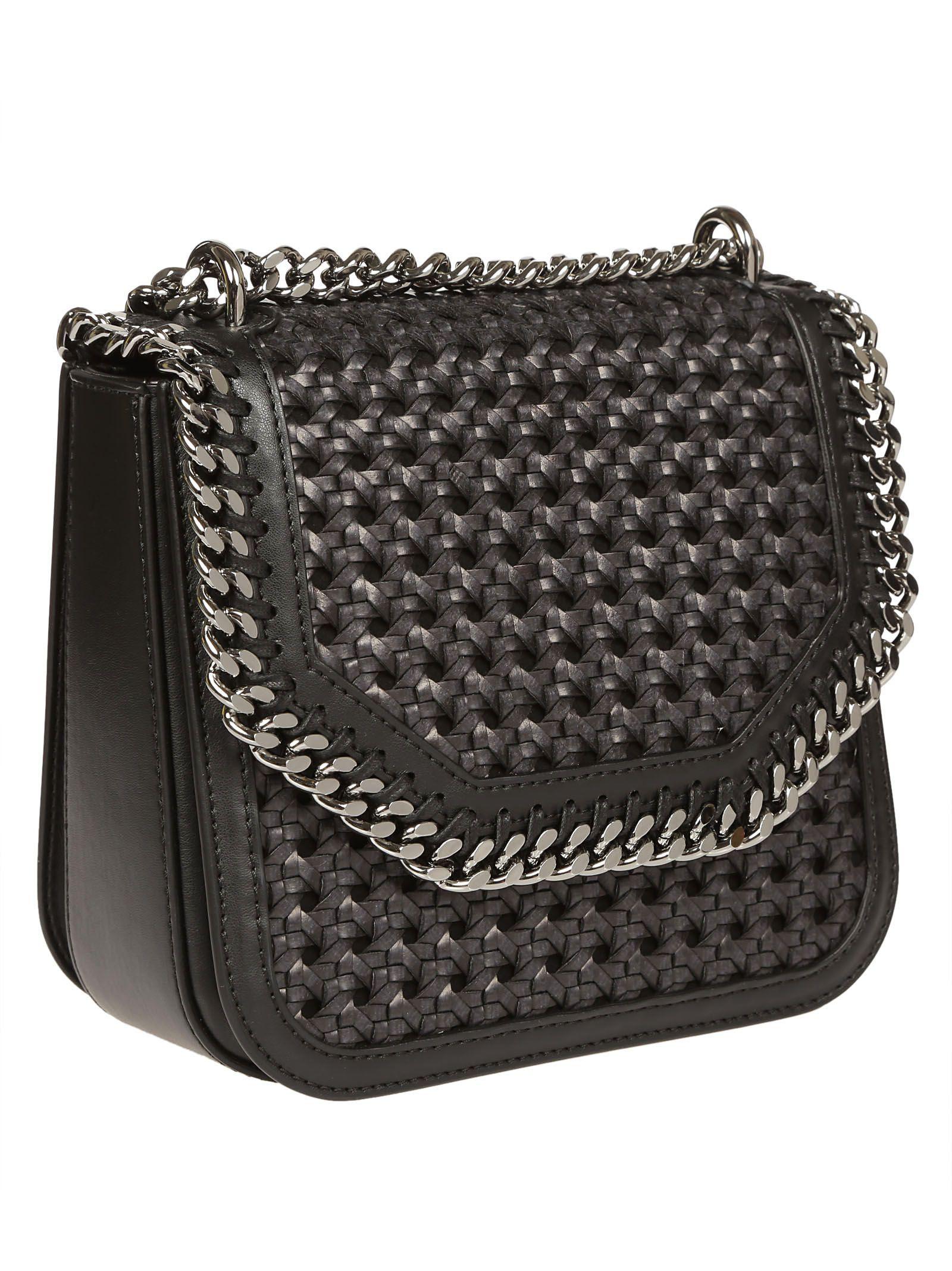 39f7f4cf76a3 Falabella Box Wicker Medium Shoulder Bag from Stella McCartney  Black  Falabella Box Wicker Medium Shoulder