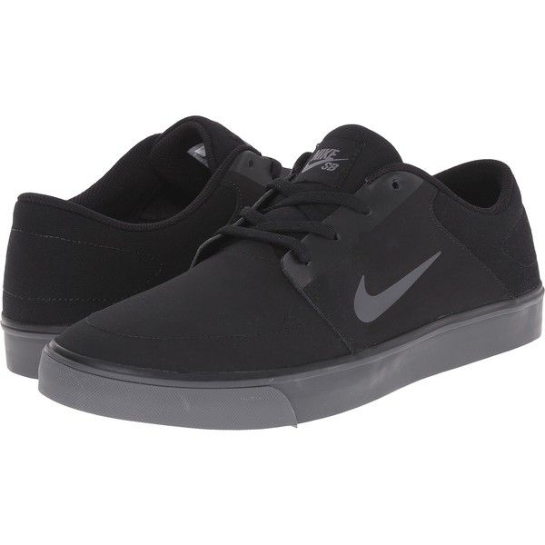 Nike SB Portmore Nubuck (Black/Black/Dark Grey) Men\u0027s Skate Shoes (