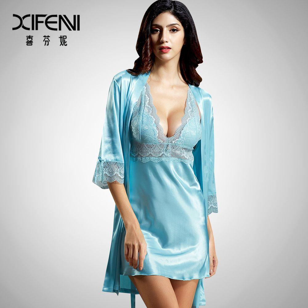 f9a4c4ced1 Xifenni Conjuntos de Bata y camisón femenino suavidad satén seda pijamas  mujeres sexy Encaje v cuello