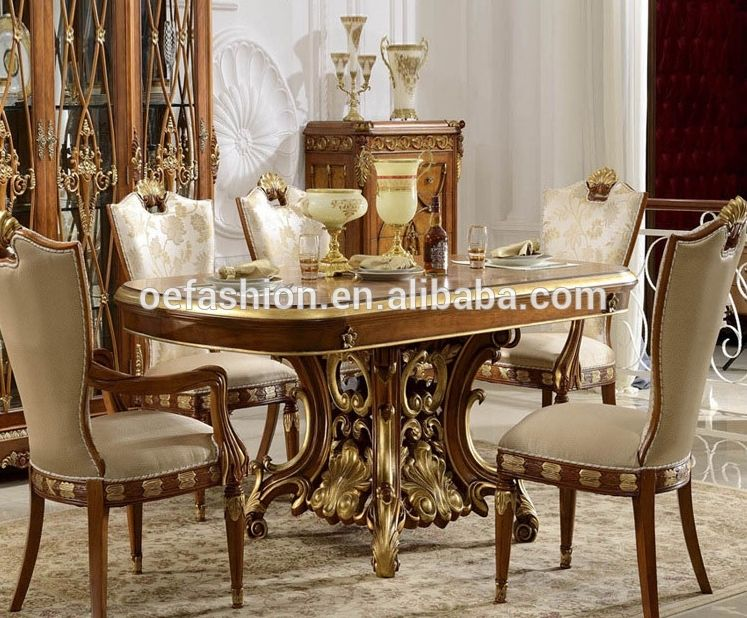 Luxury Italian Style Solid Wood Carving Rectangular 6 Seater