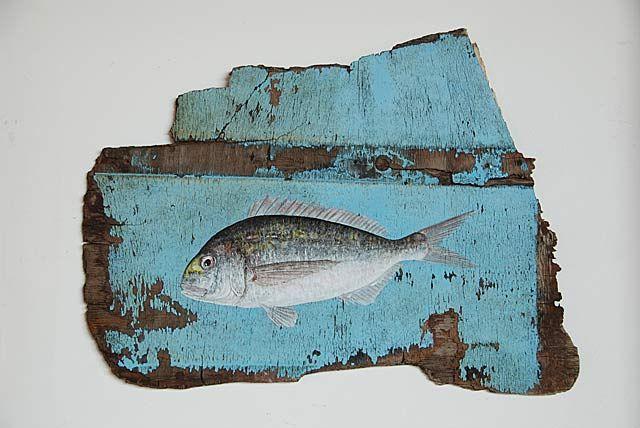 Les poissons de dilo peinture sur bois flott les for Peinture sur bois flotte