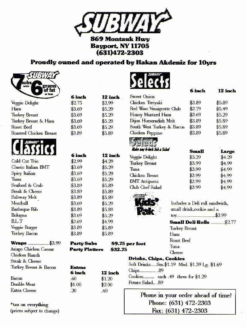 photograph regarding Subway Menu Printable titled Subway Printable Menu Freepsychiclovereadings pertaining