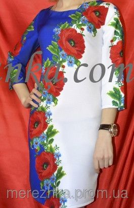Заготівля сукні для вишивки бісером макі з калиною - Товари - Заготовки  сорочок бісером e6c88e285d993