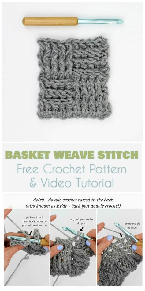 The Basket Weave Stitch [Free Crochet Pattern and Video Tutorial ...