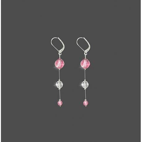 Boucles d'Oreille Dormeuses Cristal Rose Argent 925