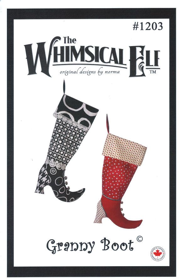 Granny Boot Christmas Stocking Sewing Pattern | Christmas stockings ...