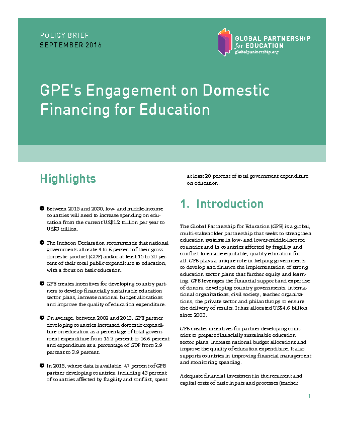 Policy Brief Gpes Engagement On Domestic Financing For Education