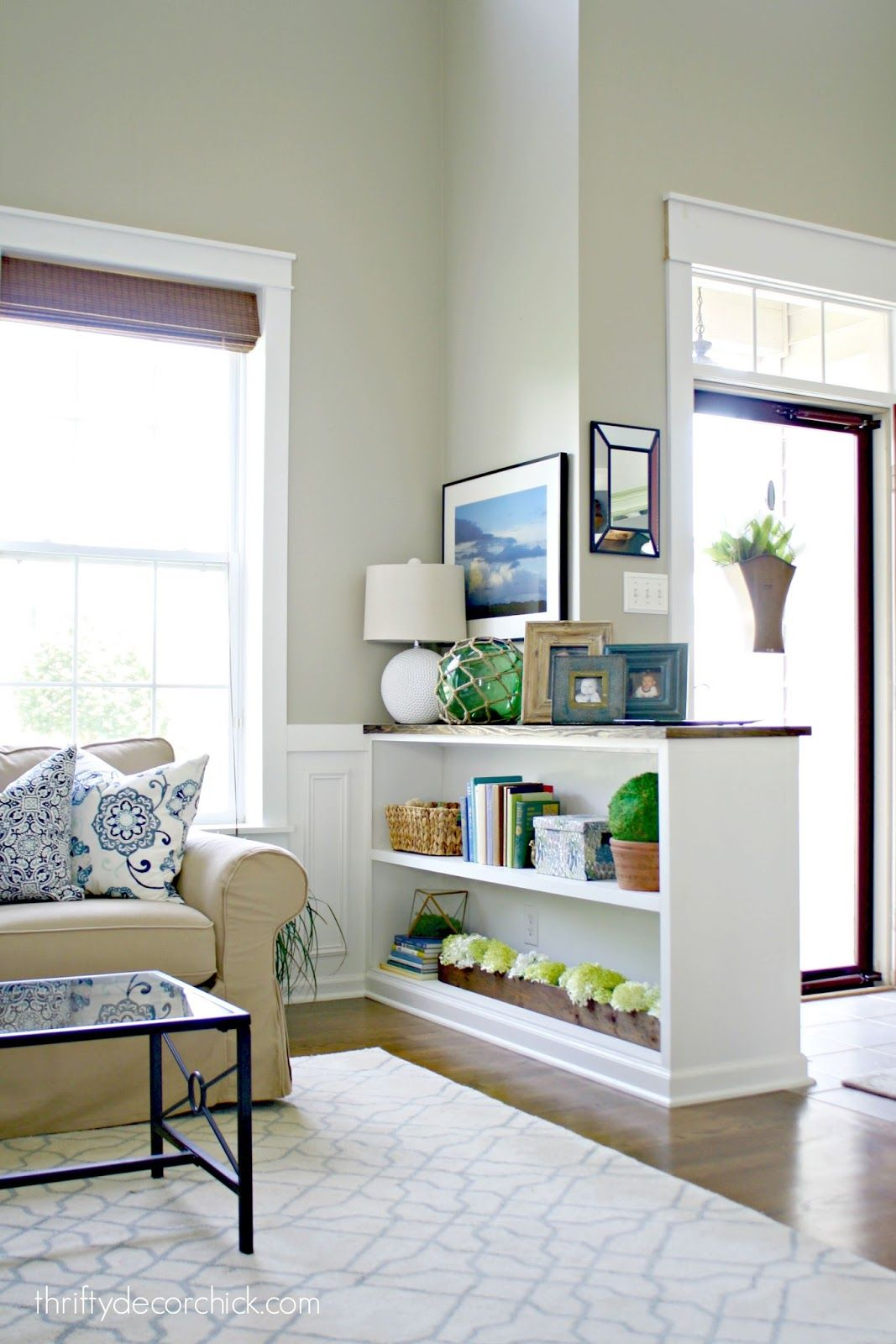 Finished half wall bookcase in house ideas pinterest