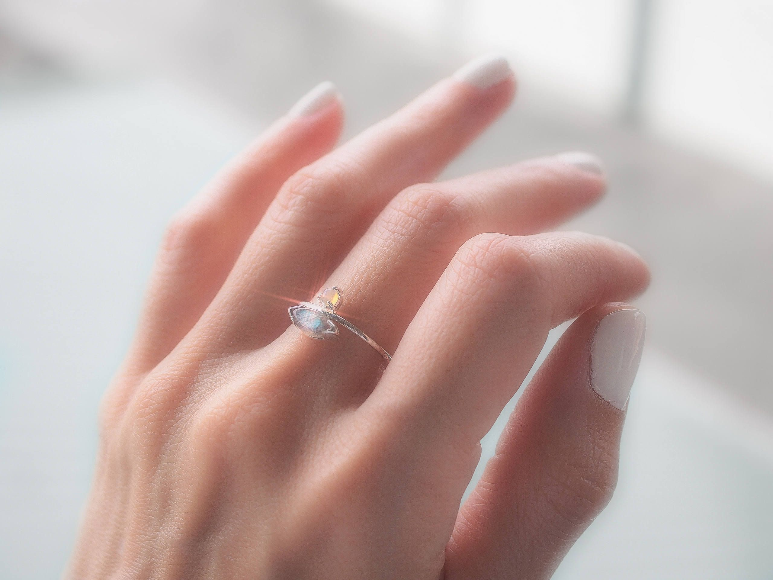 Labradorite ring Labradorite jewelry Dainty ring Feminine ring Opal ...