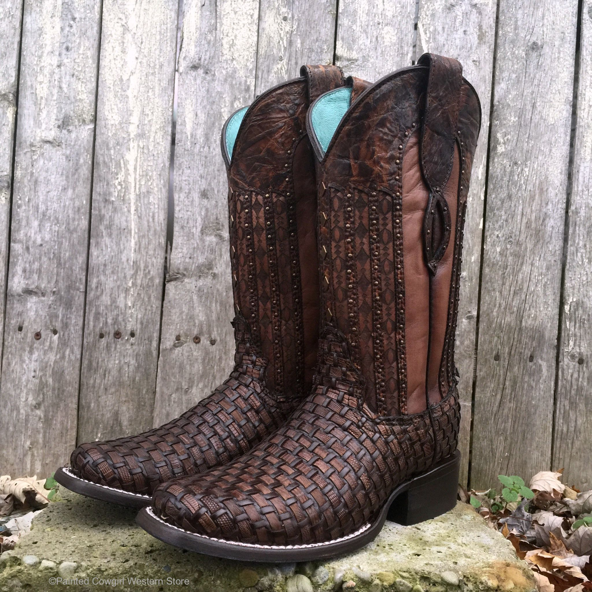 7f2c75d829f07 Corral Women's Brown Exotic Lizard Woven Square Toe Cowgirl Boots C3079